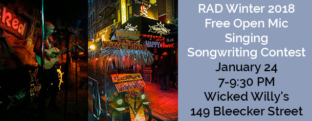 Composite Image of Wicked Willy's Restaurant - Announcement of RAD Winter 2018 Free Open Mic Singing Songwriting Contest