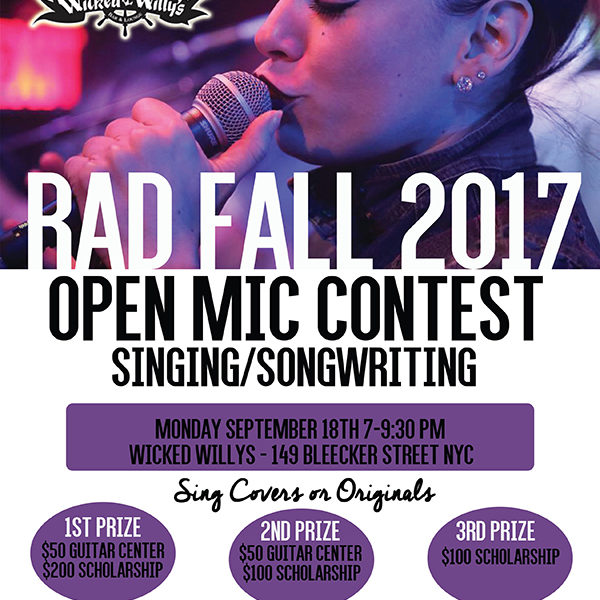 Poster Wicked Willy's RAD Fall 2017 Open Mic Singing Songwriting Contest