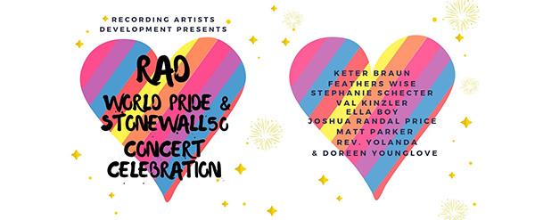 Multi-color Hearts World Pride & Stonewall 50 Concert Celebration
